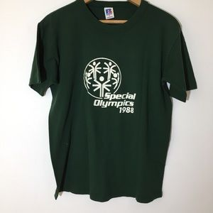 80s Vintage Graphic T Special Olympics 1988 green